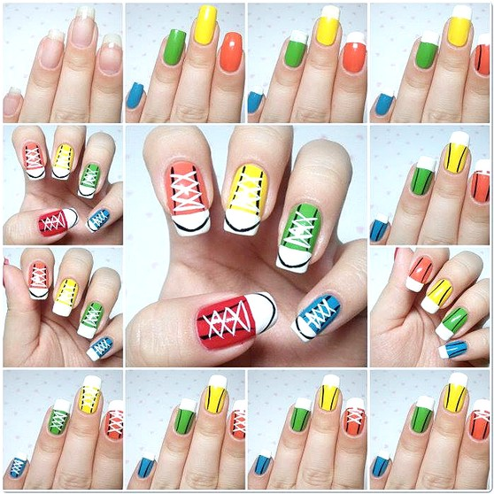 30 simple nail art step by step tutorials top beauty and 30 candy chuck taylors prinsesfo Images