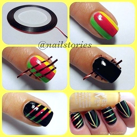 30 simple nail art step by step tutorials top beauty and 24 rasta prinsesfo Choice Image