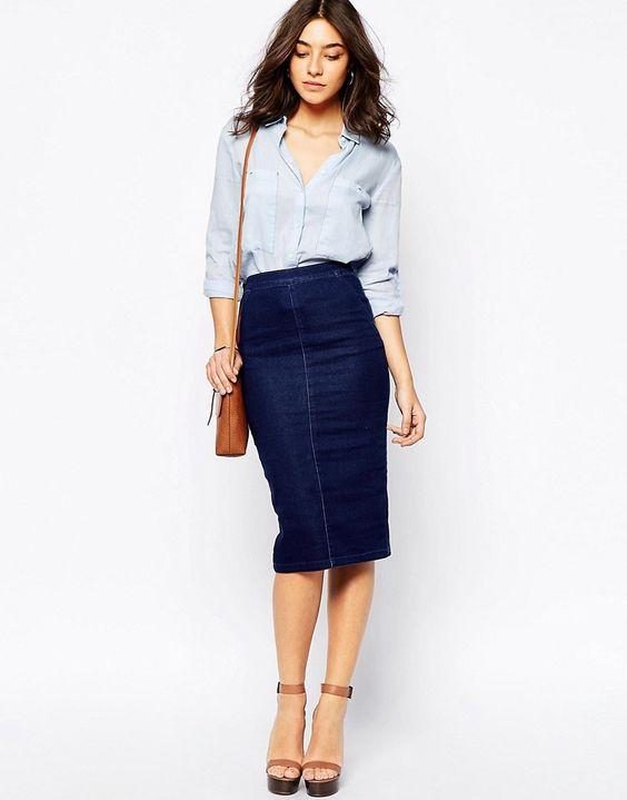 pencil cut denim skirt